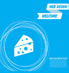 cheese icon on a blue background with abstract vector image