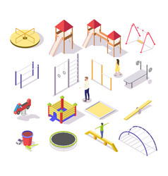 children playground icon set isometric vector image