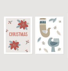 christmas scandinavian greeting cards invitations vector image