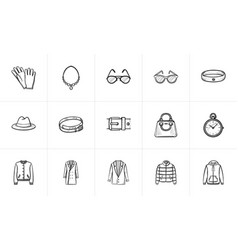 clothing and accessory sketch icon set vector image