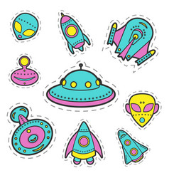 Collection of cosmic objects spaceships vector