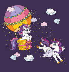 colorful cute unicorns flying in sky vector image
