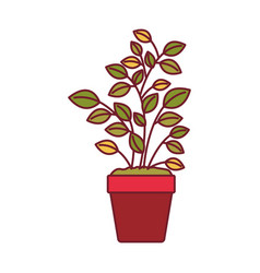 Colorful graphic of plant pot with dark red line vector