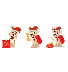 Cute dog wearing santa claus hat and deer antlers vector