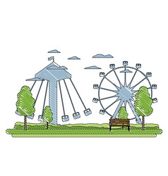 Doodle funny mechanical carnival games vector