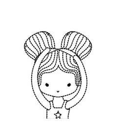 dotted shape girl practice performance ballet with vector image