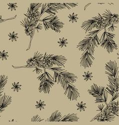 elegant hand drawn christmas seamless pattern vector image