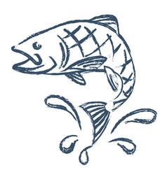 Fish and water drops abstract vector