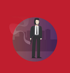 Flat brutal killer isolated on city background vector