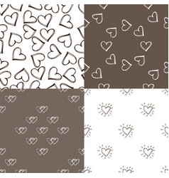 Four seamless pattern background with hearts vector