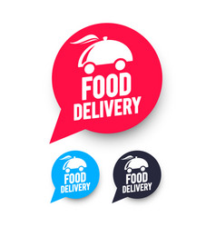 Free food delivery speech bubble web icons set vector