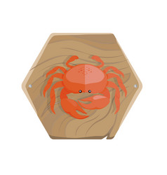 Fresh crab on wooden tray isolated vector