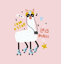 Funny llama in glasses and roller skates childish vector