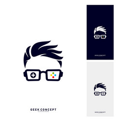 geek games leaf logo concept game geek logo vector image
