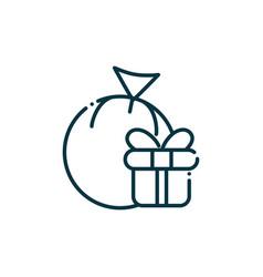 gift ball happy christmas line icon vector image