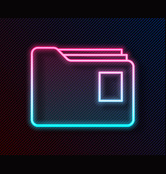 glowing neon line document folder icon isolated on vector image