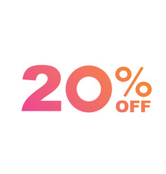 gradient pink to orange twenty percent off vector image