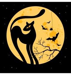 Halloween background with black cat vector