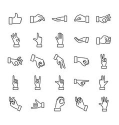 hand gesture outline icon collection set vector image