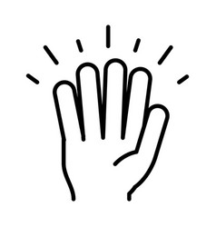 Hand showing five fingers line icon design vector