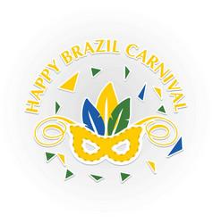 happy brazilian carnival festival carnival mask vector image