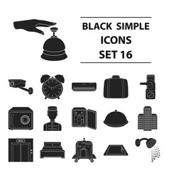 hotel set icons in black style big collection of vector image vector image