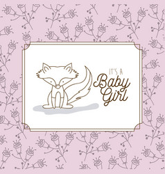 its a baby girl frame with fox vector image