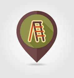 ladder stepladder stair flat pin map icon vector image