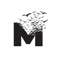 Letter m with effect destruction dispersion vector