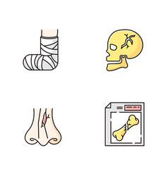 Limb and body injuries rgb color icons set broken vector