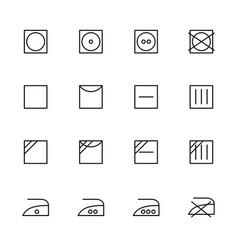 Line icon set laundry label symbol vector
