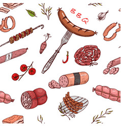 meat food seamless pattern sausage and steak for vector image