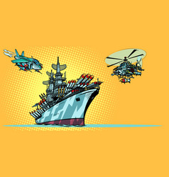 military aircraft carrier with fighter jets vector image