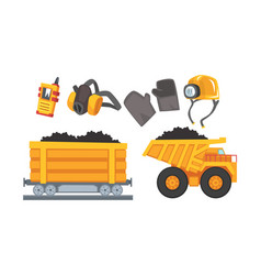 mining tools set coal and other minerals vector image
