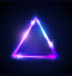 Night club neon light triangle on brick wall vector