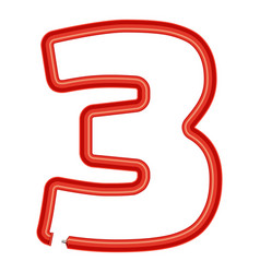 number three plastic tube icon cartoon style vector image
