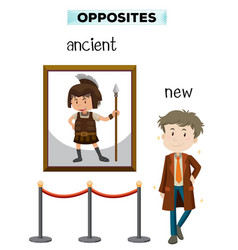 Opposite word of ancient new vector