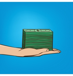 Outstretched hand with wad of cash vector image
