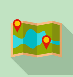 paper pin map route icon flat style vector image