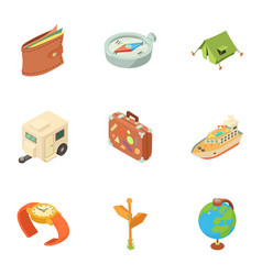 Planning a hike icons set isometric style vector