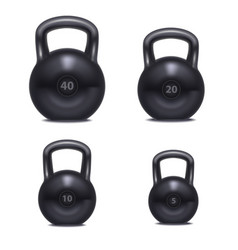 realistic 3d detailed gym kettlebell set vector image