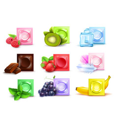 realistic scented condom set vector image