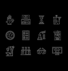 research laboratory flat white line icons vector image