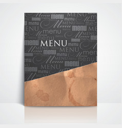 restaurant menu design with grunge cardboard vector image