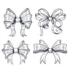ribbon bows set black hand drawn sketch vector image