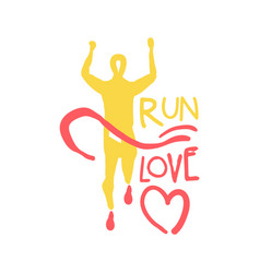 Run love logo symbol colorful hand drawn vector