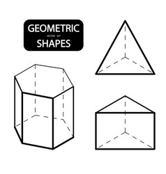 set 3d geometric shapes isometric views the vector image