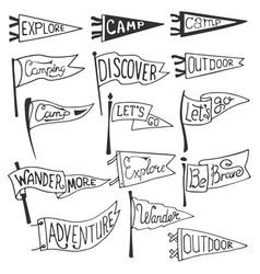 Set adventure outdoors camping pennants vector