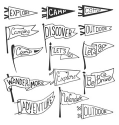 Set of adventure outdoors camping pennants vector