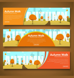 Set of web banners with autumn landscape vector